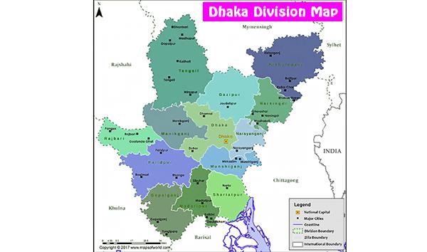 Map of Dhaka Division